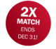 2X donation match, ends Dec 31